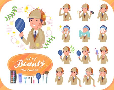 A set of Detective man on beauty.There are various actions such as skin care and makeup.It's vector art so it's easy to edit.