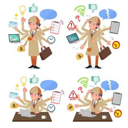 A set of Detective man who perform multitasking in the office.There are things to do smoothly and a pattern that is in a panic.It's vector art so it's easy to edit. Illustration