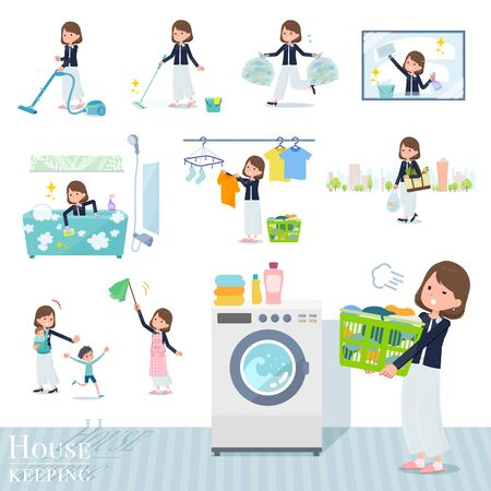A set of formal fashion women related to housekeeping such as cleaning and laundry.There are various actions such as child rearing.It's vector art so it's easy to edit. Ilustração