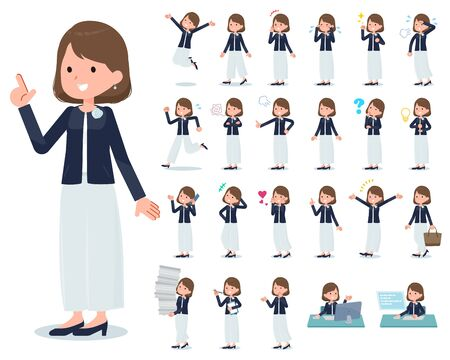 A set of formal fashion women with who express various emotions.There are actions related to workplaces and personal computers.It's vector art so it's easy to edit. Vector Illustratie