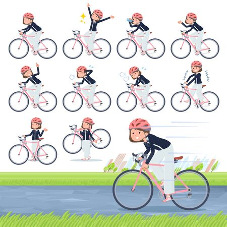 A set of formal fashion women on a road bike.There is an action that is enjoying.It's vector art so it's easy to edit.