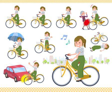 Eine Reihe von lässigen Modefrauen, die ein Stadtrad fahren. Es gibt Aktionen zu Manieren und Problemen. Es handelt sich um Vektorgrafiken, die leicht zu bearbeiten sind.
