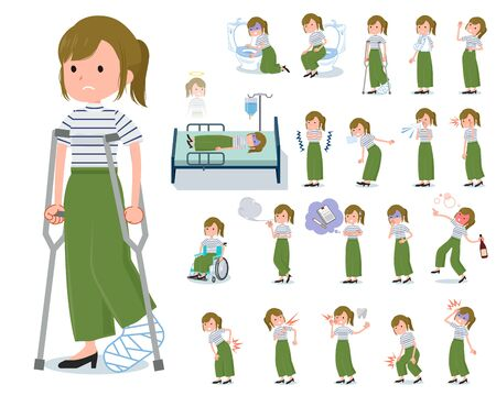 A set of casual fashion women with injury and illness.It's vector art so it's easy to edit.