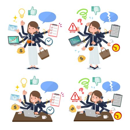 A set of formal fashion women who perform multitasking in the office.There are things to do smoothly and a pattern that is in a panic.It's vector art so it's easy to edit.