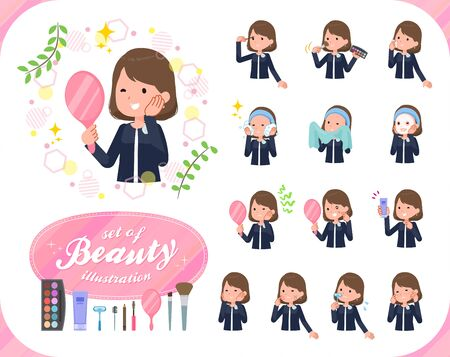 A set of formal fashion women on beauty.There are various actions such as skin care and makeup.It's vector art so it's easy to edit.