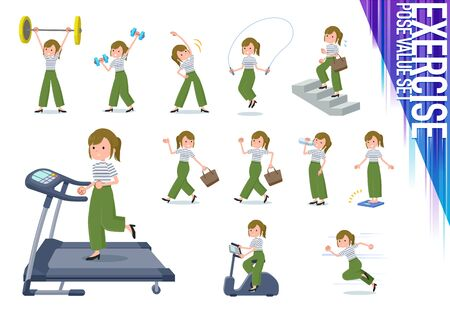 A set of casual fashion women on exercise and sports.There are various actions to move the body healthy.It's vector art so it's easy to edit.