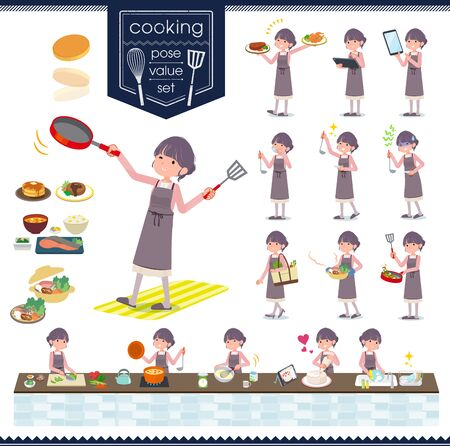 A set of formal fashion women about cooking.There are actions that are cooking in various ways in the kitchen.It's vector art so it's easy to edit.