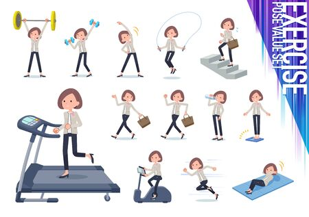 A set of formal fashion women on exercise and sports.There are various actions to move the body healthy.It's vector art so it's easy to edit.
