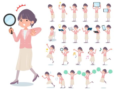A set of formal fashion women with digital equipment such as smartphones.There are actions that express emotions.It's vector art so it's easy to edit.