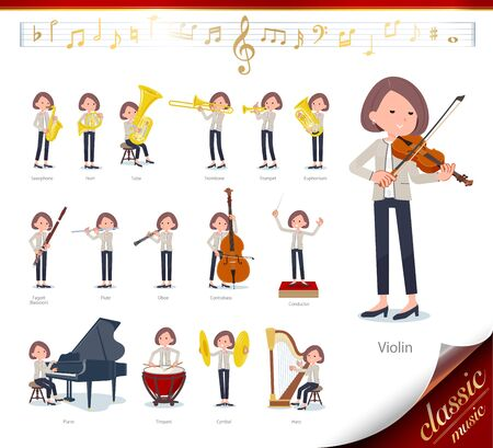 A set of formal fashion women on classical music performances.There are actions to play various instruments such as string instruments and wind instruments.Its vector art so its easy to edit.  Ilustrace