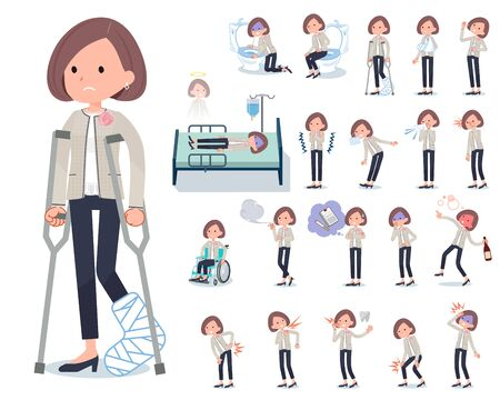 A set of formal fashion women with injury and illness.There are actions that express dependence and death.It's vector art so it's easy to edit.