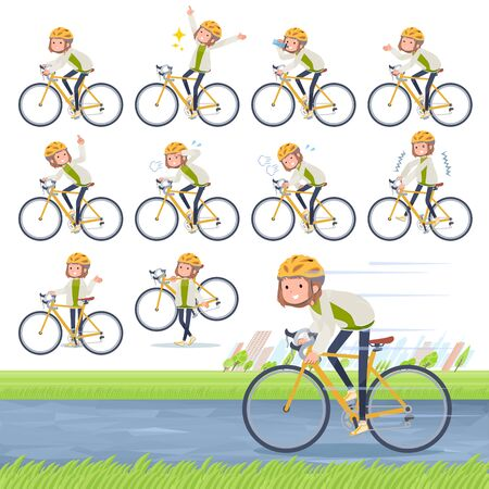 A set of casual fashion women on a road bike.There is an action that is enjoying.Its vector art so its easy to edit.