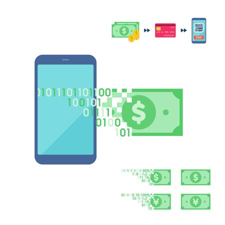It is an illustration of an image where cash is converted into electronic money.