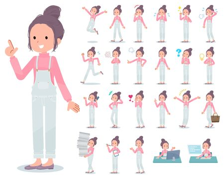 A set of women with who express various emotions.There are actions related to workplaces and personal computers.It's vector art so it's easy to edit.