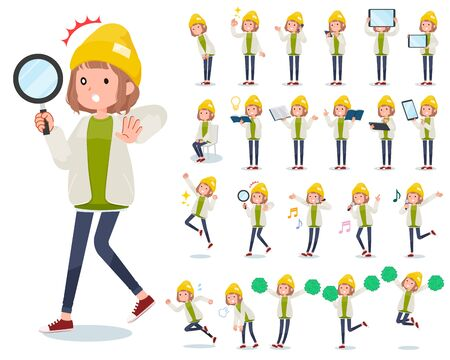 A set of casual fashion women with digital equipment such as smartphones.There are actions that express emotions.Its vector art so its easy to edit.