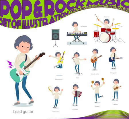 A set of casual fashion women playing rock 'n' roll and pop music.There are also various instruments such as ukulele and tambourine.It's vector art so it's easy to edit. Stock Illustratie