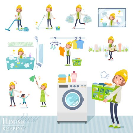 A set of casual fashion women related to housekeeping such as cleaning and laundry.There are various actions such as child rearing.It's vector art so it's easy to edit. Ilustração