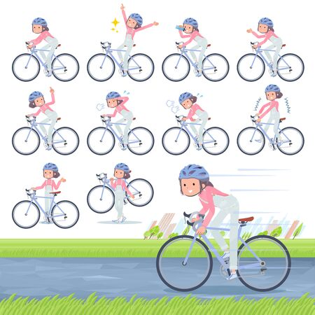A set of women on a road bike.There is an action that is enjoying.Its vector art so its easy to edit.