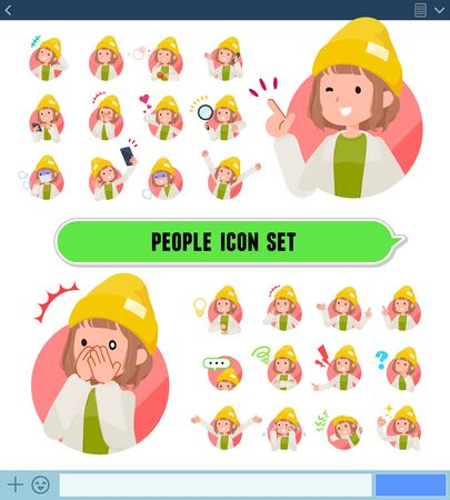 A set of casual fashion women with expresses various emotions.There are variations of emotions such as joy and sadness.It's vector art so it's easy to edit.