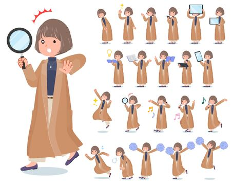 A set of casual fashion women with digital equipment such as smartphones.There are actions that express emotions.It's vector art so it's easy to edit.
