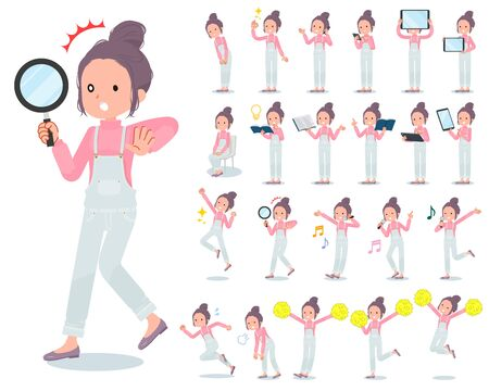 A set of women with digital equipment such as smartphones.There are actions that express emotions.Its vector art so its easy to edit.