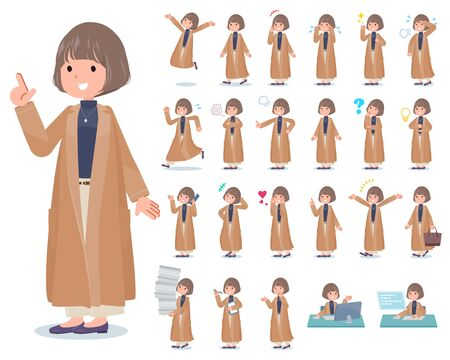 A set of casual fashion women with who express various emotions.There are actions related to workplaces and personal computers.Its vector art so its easy to edit.