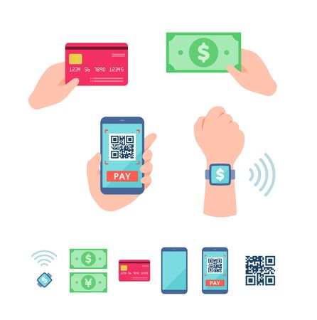 An illustration of various payment methods.This is a neat vector illustration with no outline.