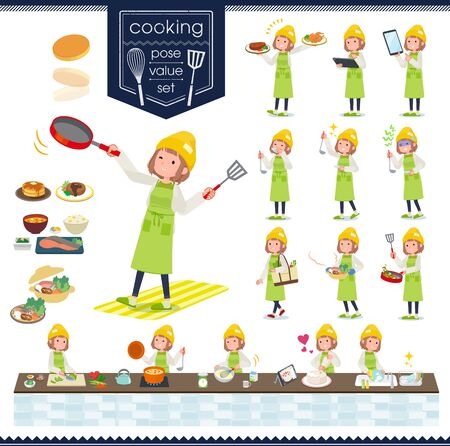 A set of casual fashion women about cooking.There are actions that are cooking in various ways in the kitchen.It's vector art so it's easy to edit.