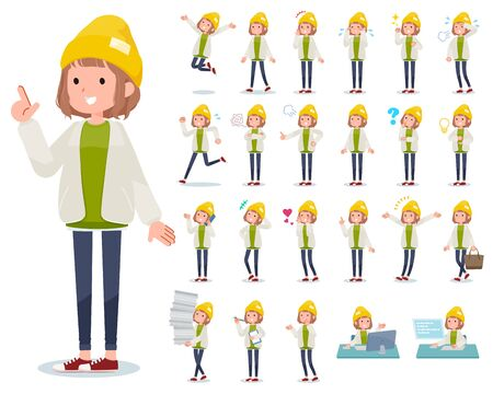 A set of casual fashion women with who express various emotions.There are actions related to workplaces and personal computers.It's vector art so it's easy to edit.