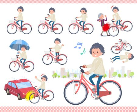 A set of casual fashion women riding a city cycle.There are actions on manners and troubles.It's vector art so it's easy to edit.