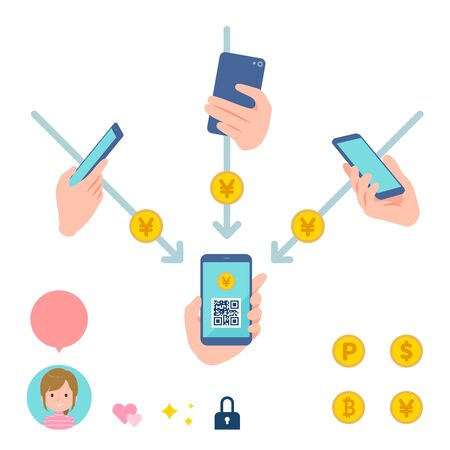 This is an illustration of remittance of electronic money between individuals via smartphone.