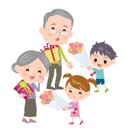 A scene where an old man is receiving presents from children.Its vector art so its easy to edit.