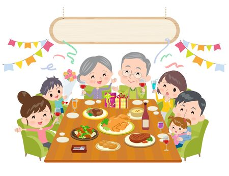 A scene where an old man is blessed by his family at a party. Vector art that is easy to edit.Its vector art so its easy to edit.