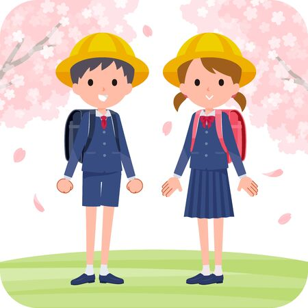 Elementary school boys and girls are in a cherry blossom landscape.It's vector art so it's easy to edit.