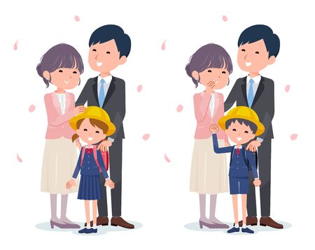 Entrance ceremony Fashionable family.It's vector art so it's easy to edit.