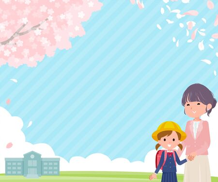 Spring cherry blossom scenery and parent and child are smiling.It's vector art so it's easy to edit.Image ratio 300:250 rectangle size. Vettoriali
