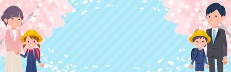 Le paysage de fleurs de cerisier de printemps et le parent et l'enfant sourient. C'est de l'art vectoriel, il est donc facile à modifier. Ratio d'image 320: 100 taille de la bannière mobile.