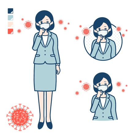 A young Business woman in a suit with Put on a mask and cough images.It's vector art so it's easy to edit.