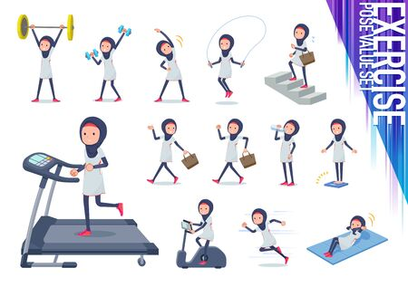 A set of women wearing hijabon exercise and sports.There are various actions to move the body healthy.It's vector art so it's easy to edit.