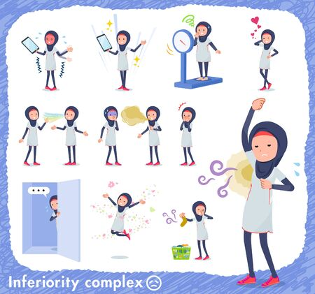 A set of women wearing hijabon inferiority complex.There are actions suffering from smell and appearance.It's vector art so it's easy to edit.