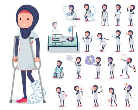 A set of women wearing hijabwith injury and illness.There are actions that express dependence and death.It's vector art so it's easy to edit.