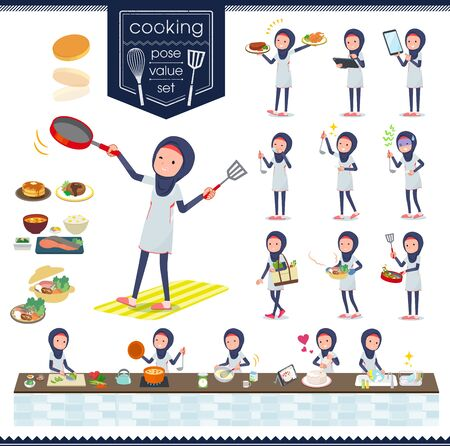 A set of women wearing hijababout cooking.There are actions that are cooking in various ways in the kitchen.It's vector art so it's easy to edit. Ilustração