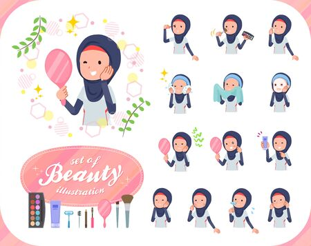 A set of women wearing hijabon beauty.There are various actions such as skin care and makeup.Its vector art so its easy to edit.