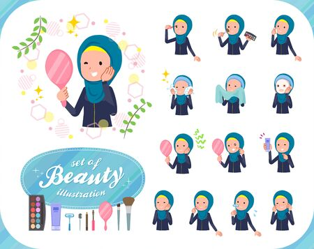 A set of women wearing hijab on beauty.There are various actions such as skin care and makeup.It's vector art so it's easy to edit.