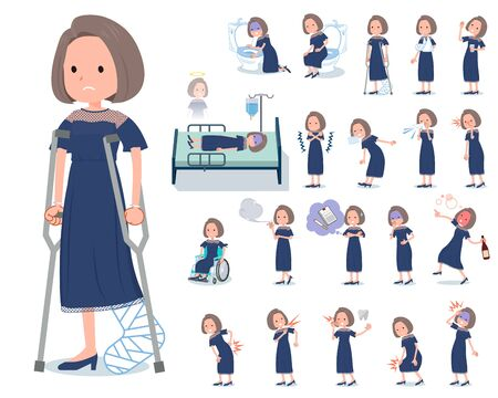 A set of dress fashion women with injury and illness.There are actions that express dependence and death.It's vector art so it's easy to edit. Standard-Bild - 140522483