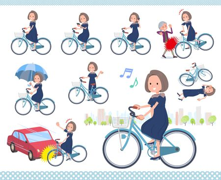 A set of dress fashion women riding a city cycle.There are actions on manners and troubles.It's vector art so it's easy to edit.
