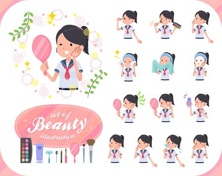 A set of women on beauty.There are various actions such as skin care and makeup.Its vector art so its easy to edit.