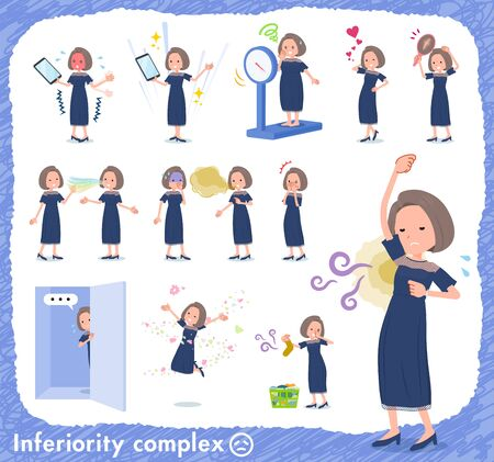 A set of dress fashion women on inferiority complex.There are actions suffering from smell and appearance.It's vector art so it's easy to edit.
