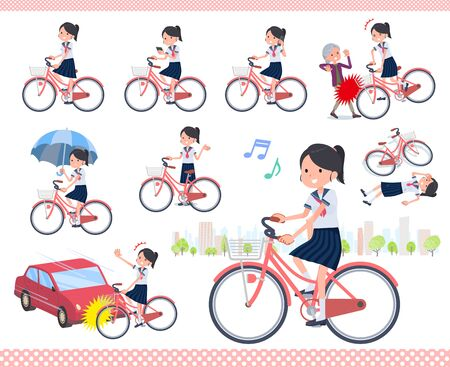 A set of women riding a city cycle.There are actions on manners and troubles.It's vector art so it's easy to edit.