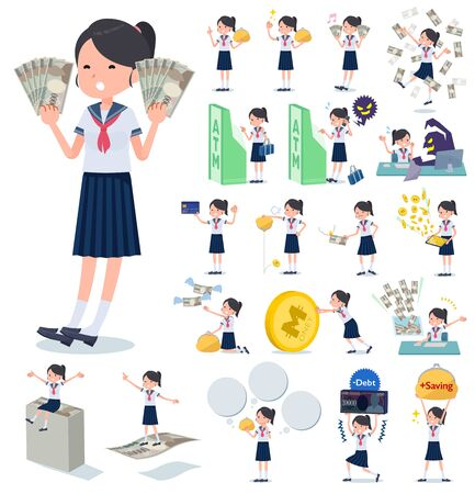 A set of women with concerning money and economy.There are also actions on success and failure.It's vector art so it's easy to edit.